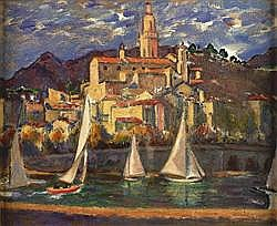 ALEXANDER GRAHAM MUNRO R.S.W (1903-1985) THE BAY, MENTON 46cm(18in) x 56cm(22in)