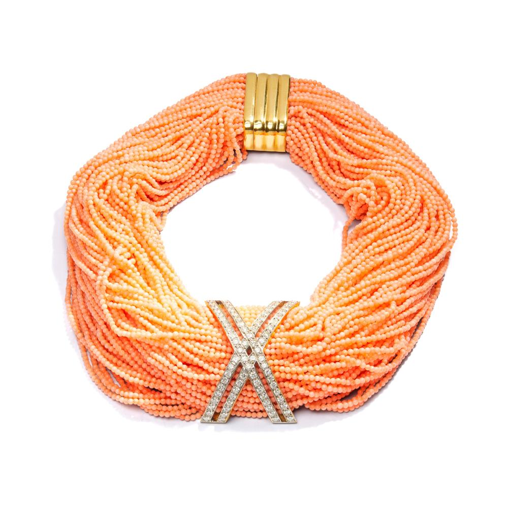 Y A coral and diamond-set necklace