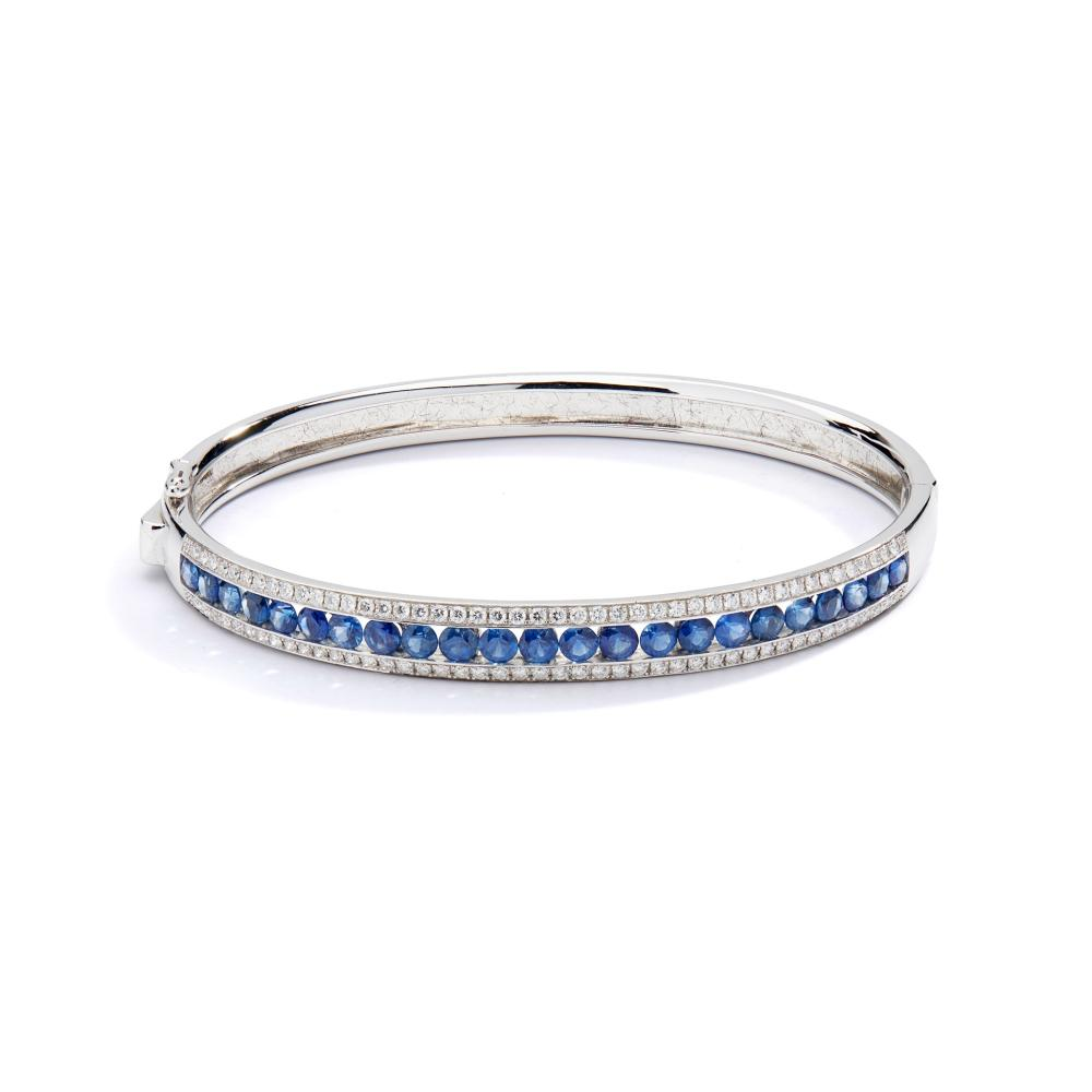 A sapphire and diamond bangle, by Mappin & Webb
