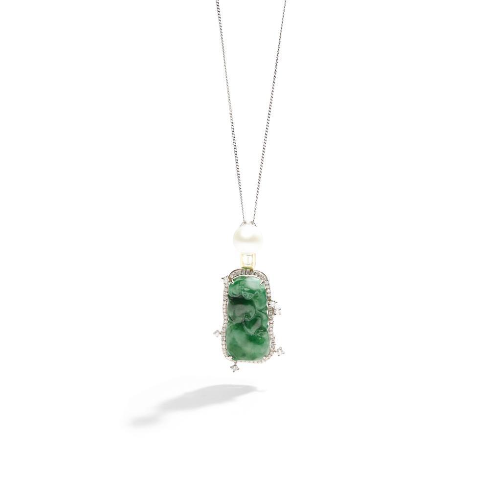 A jadeite jade, diamond and cultured pearl pendant necklace