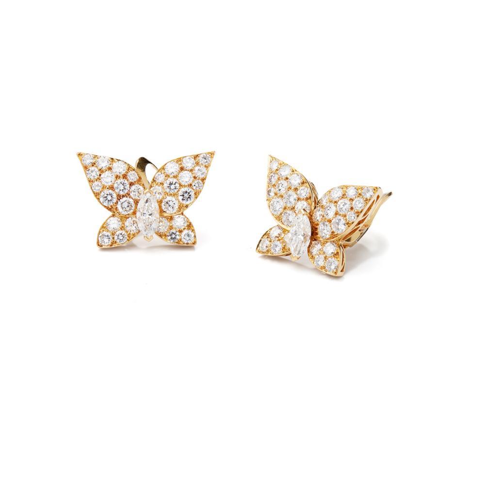 A pair of diamond butterfly earrings, by Van Cleef & Arpels