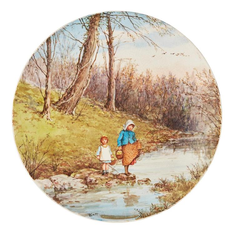 LINNIE WATT (1875-1908) FOR PINDER, BOURNE & CO. PAINTED EARTHENWARE WALL PLATE, CIRCA 1880 31.5cm diameter