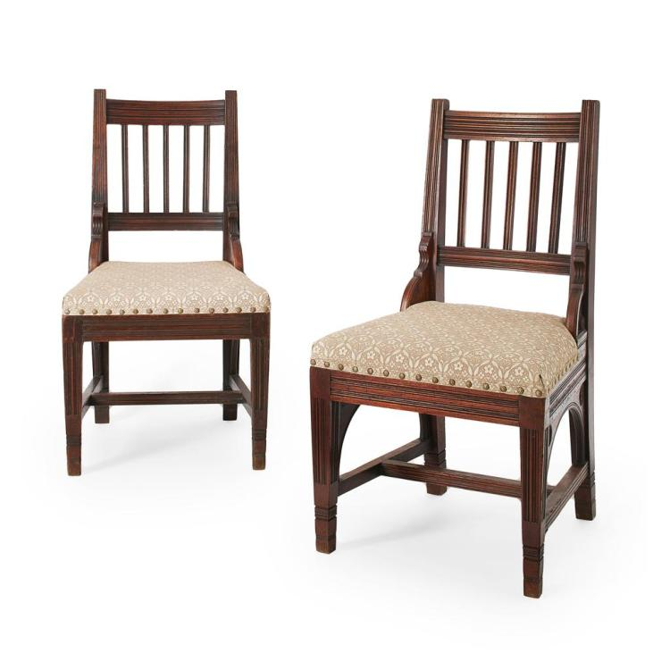 GOTHIC REVIVAL PAIR OF WALNUT SIDE CHAIRS, CIRCA 1870 45cm wide, 87cm high, 41cm deep
