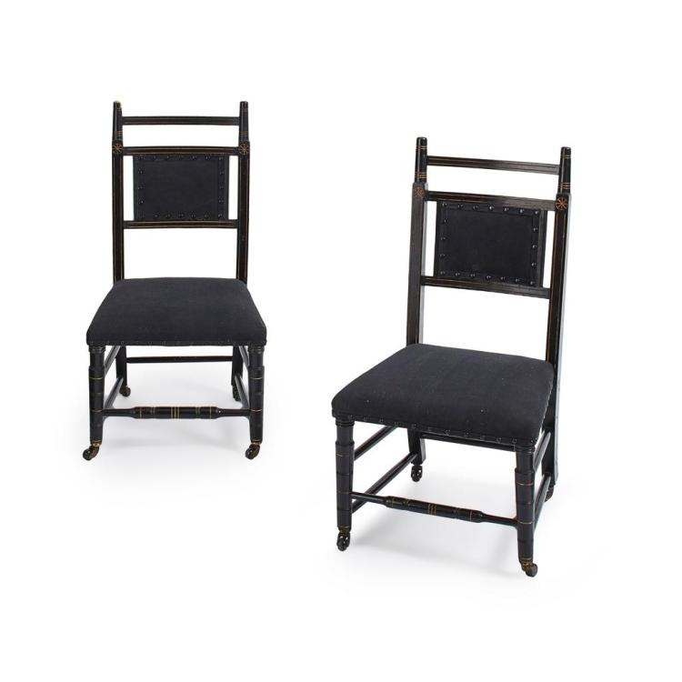 AFTER E. W. GODWIN PAIR OF AESTHETIC MOVEMENT EBONISED SIDE CHAIRS, CIRCA 1880 41cm wide, 72cm high, 36cm deep