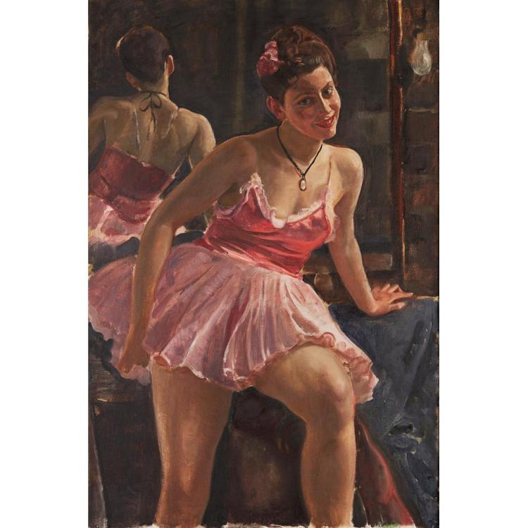 § ROBERT SIVELL R.S.A. (SCOTTISH 1858-1958) MAIRI PIRIE AS A DANCER IN A TUTU 105cm x 70cm (41.5in x 27.5in)