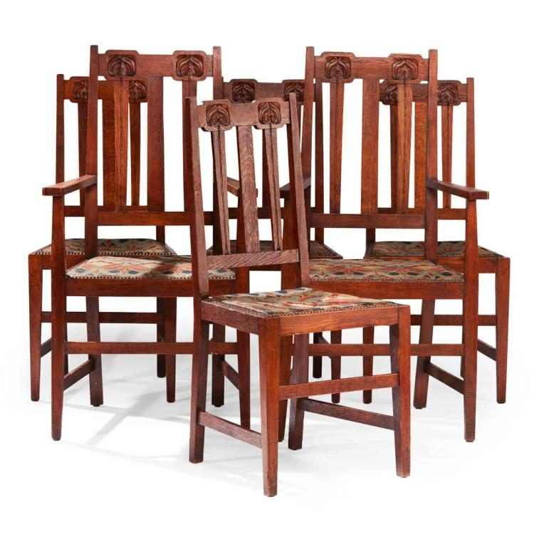 LIBERTY & CO., LONDON SET OF SIX ARTS & CRAFTS OAK DINING CHAIRS, CIRCA 1900 Carvers 61cm wide, 111cm high, 52cm deep; chairs 46cm w...