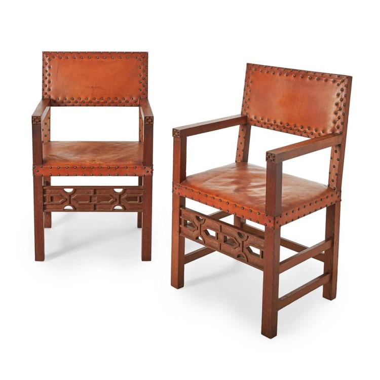 MANNER OF LIBERTY & CO., LONDON PAIR OF ARTS & CRAFT OAK ARMCHAIRS 58cm wide, 96cm high, 49cm deep