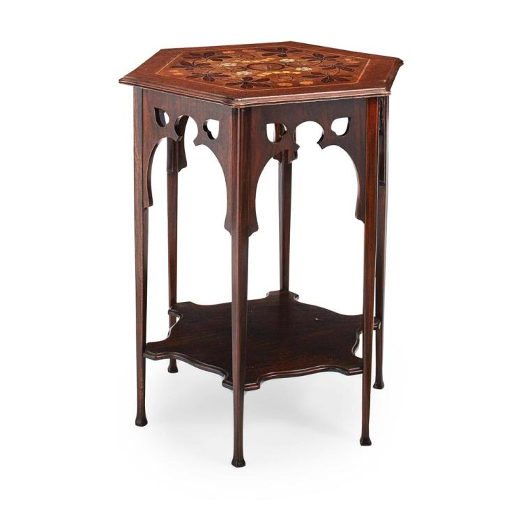 ARTS & CRAFTS MAHOGANY, ROSEWOOD AND MARQUETRY INLAID OCCASIONAL TABLE, CIRCA 1900 51cm across, 71cm high