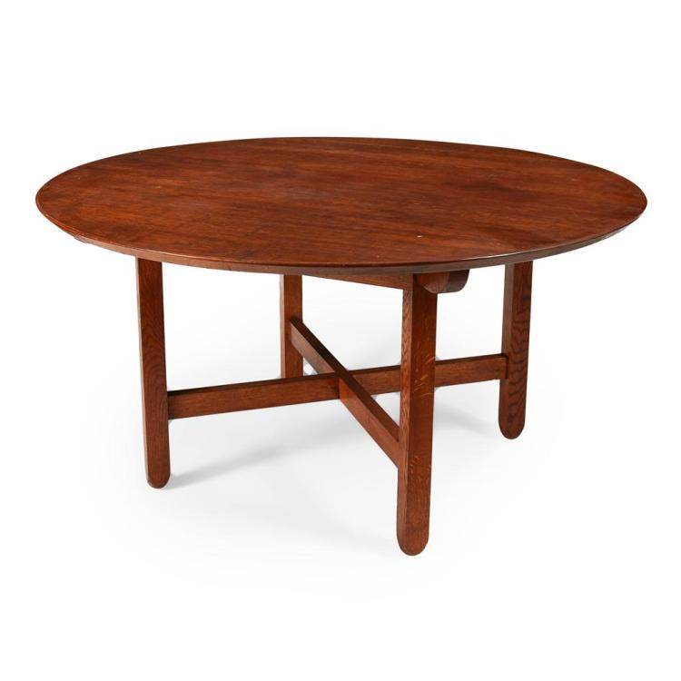 AFTER C.F.A. VOYSEY ARTS & CRAFTS OAK CENTRE TABLE, MODERN 149cm diameter, 78cm high