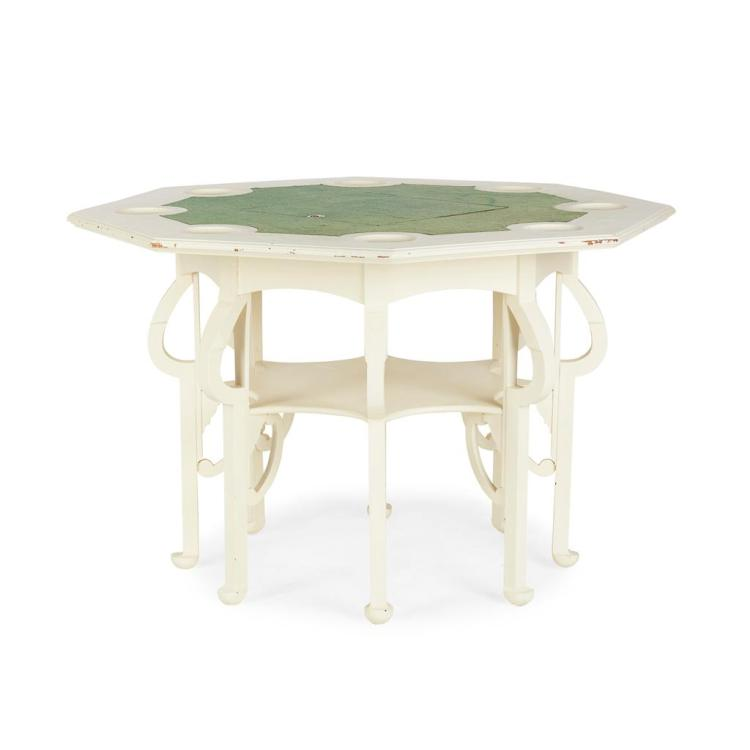 ART NOUVEAU WHITE PAINTED GAMES TABLE, CIRCA 1900 112cm wide, 74cm high