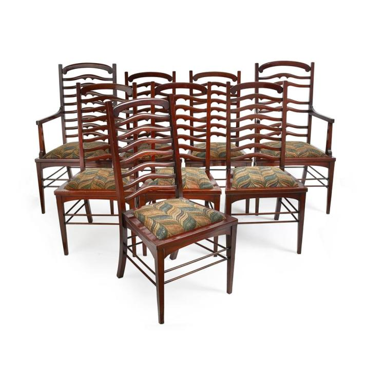 WYLIE & LOCHHEAD, GLASGOW SET OF EIGHT MAHOGANY LADDERBACK DINING CHAIRS, CIRCA 1900 chairs, 46cm wide, 97cm high, 40cm deep