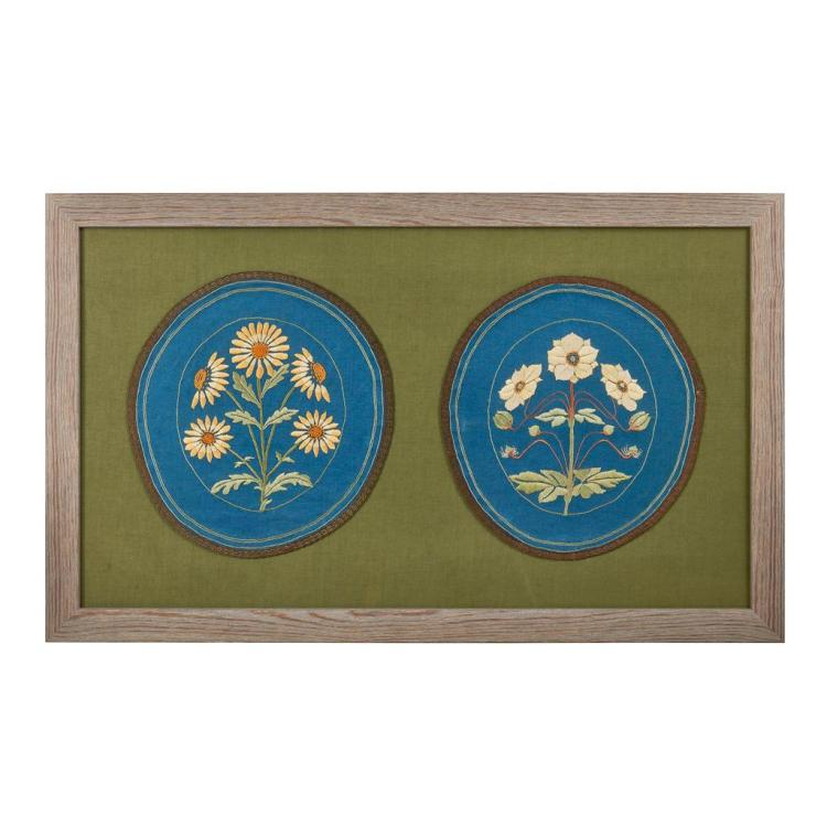 GLASGOW STYLE PAIR OF EMBROIDERED PANELS, CIRCA 1900 57cm x 93cm