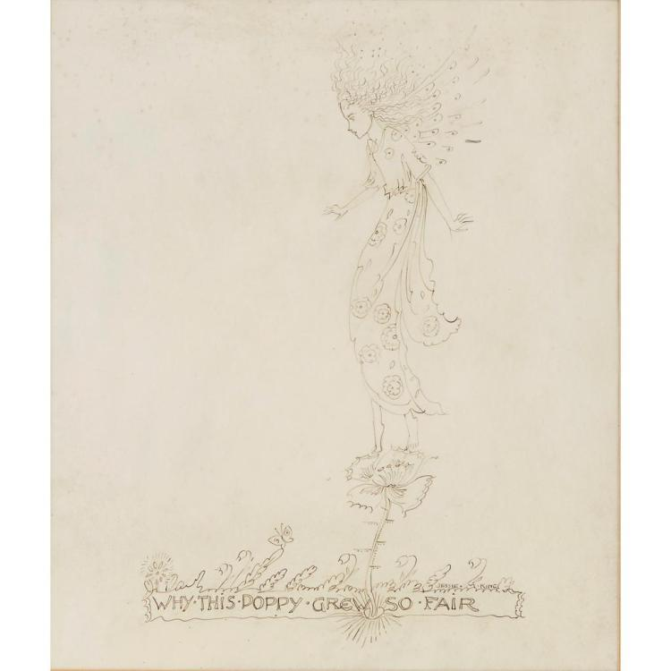 § JESSIE MARION KING (1875-1949) 'WHY THIS POPPY GREW SO FAIR' 27.5cm x 24cm
