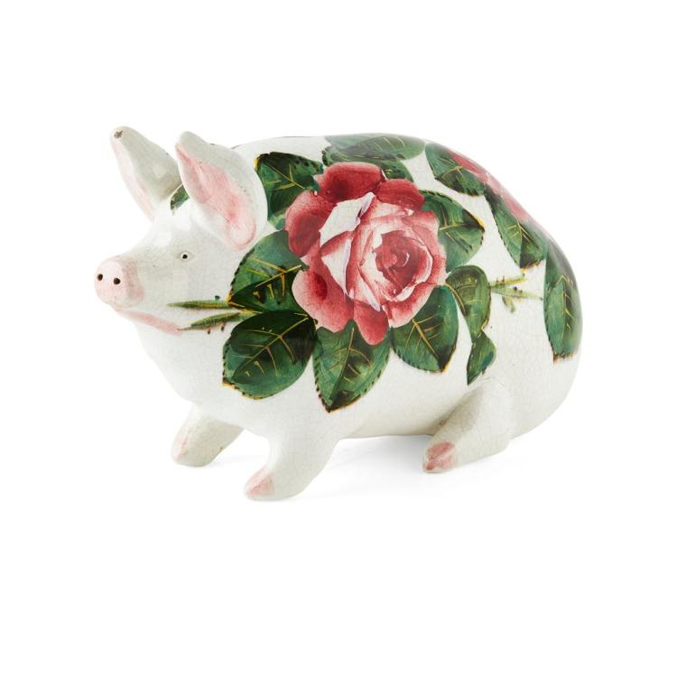 WEMYSS WARE A SMALL 'CABBAGE ROSES' PATTERN PIG, CIRCA 1900 16cm long