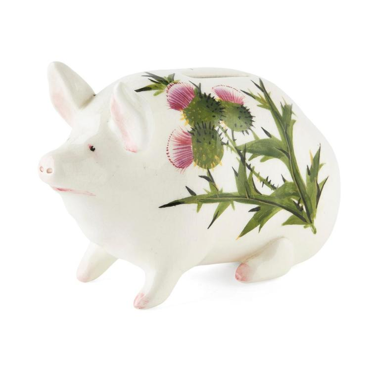 WEMYSS WARE SMALL 'THISTLES' PATTERN MONEYBOX PIG, POST 1930 16cm long