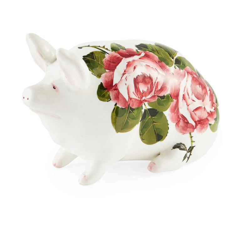 WEMYSS WARE SMALL 'CABBAGE ROSES' PATTERN PIG, POST 1930 16cm long