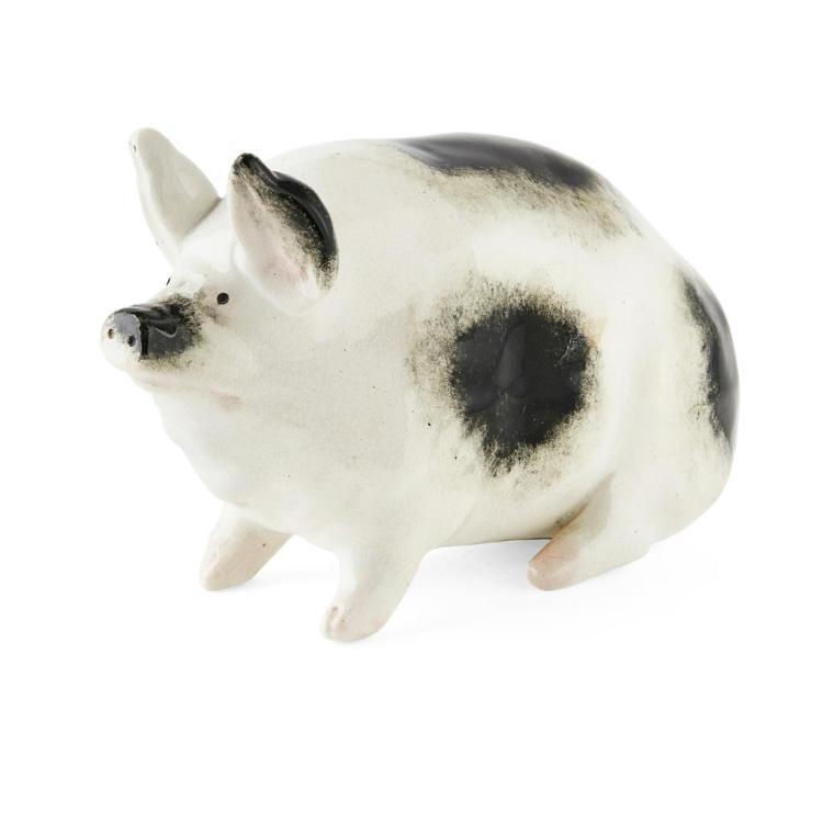 WEMYSS WARE SMALL BLACK & WHITE PIG, CIRCA 1900 16cm long