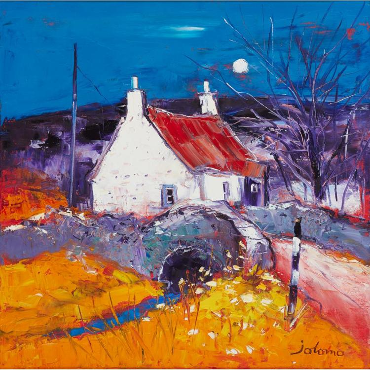 § JOHN LOWRIE MORRISON O.B.E. (SCOTTISH B.1948) WINTER MOON, KINTYRE 59cm x 59cm (23.25in x 23.25in)