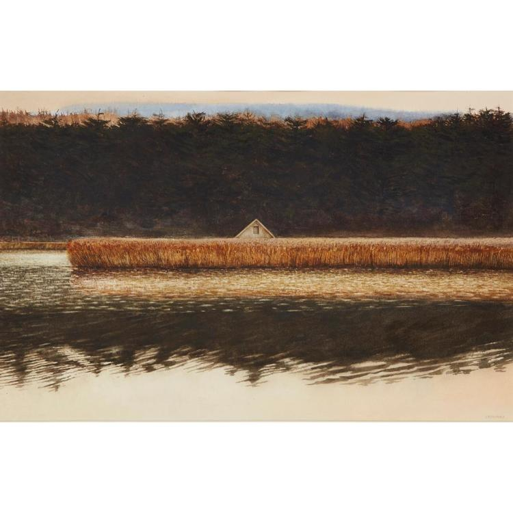§ JOHN GARDINER CRAWFORD R.S.W. (SCOTTISH B.1941) BOATHOUSE, 1984 35.5cm x 53cm (13in x 21in)