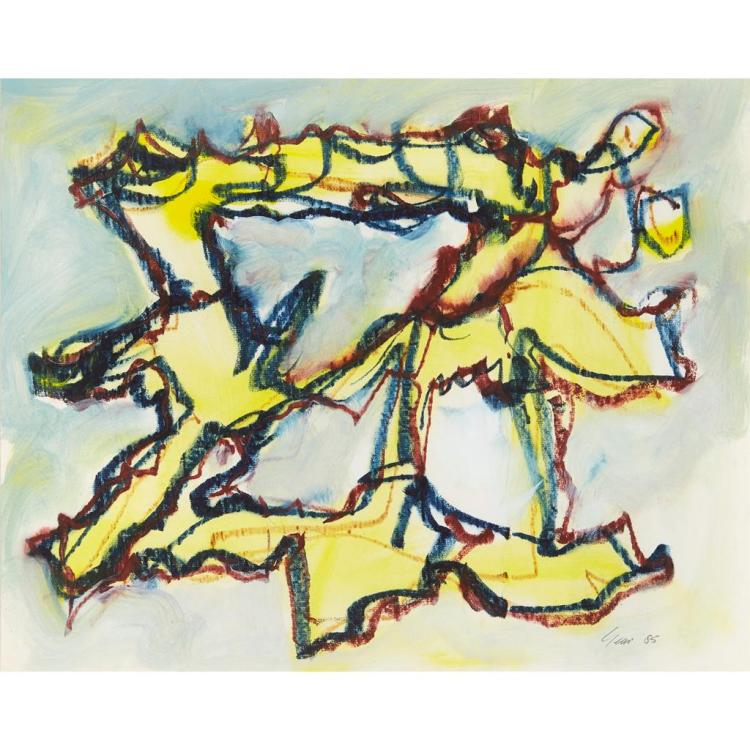§ WILLIAM GEAR R.A., F.R.S.A., R.B.S.A. (SCOTTISH 1915-1997) YELLOW JEST 35cm x 43cm (13.75in x 17in)