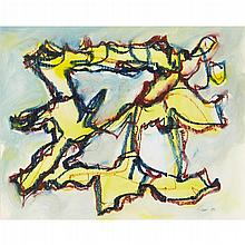 § WILLIAM GEAR R.A., F.R.S.A., R.B.S.A. (SCOTTISH 1915-1997) YELLOW JEST 35cm x 43cm (13.75in x 17in)