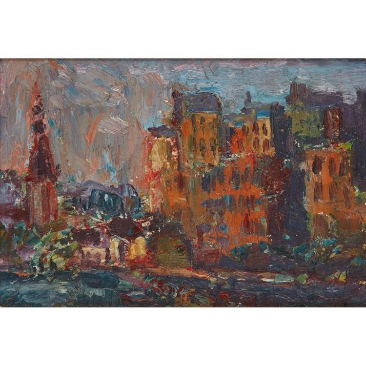 § SIR WILLIAM MACTAGGART P.R.S.A., R.S.W. (SCOTTISH 1903-1981) AMSTERDAM 14cm x 21cm (5.5in x 8.25in)