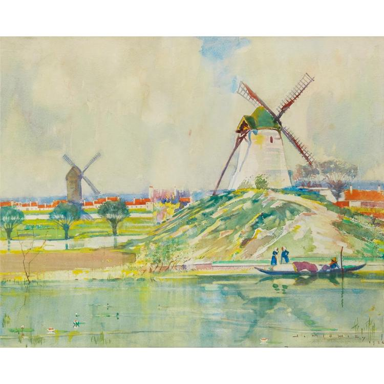 § JAMES BEATTIE MICHIE (SCOTTISH 1891-1960) WINDMILLS IN A RIVER LANDSCAPE 51cm x 61cm (20in x 24in)