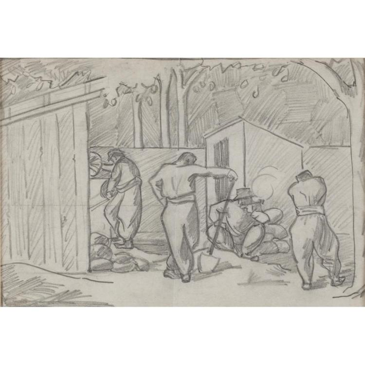 § MARGARET MORRIS (BRITISH 1891-1980) FOUR WORKMEN - PARIS 1913 15.5cm x 22.5cm (6in x 9in)