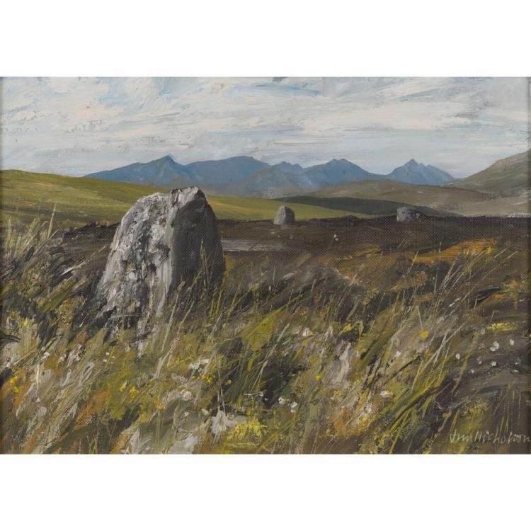 § JIM NICHOLSON (BRITISH 1924-1996) STANDING STONES 40.5cm x 57.5cm (16in x 22.75in)