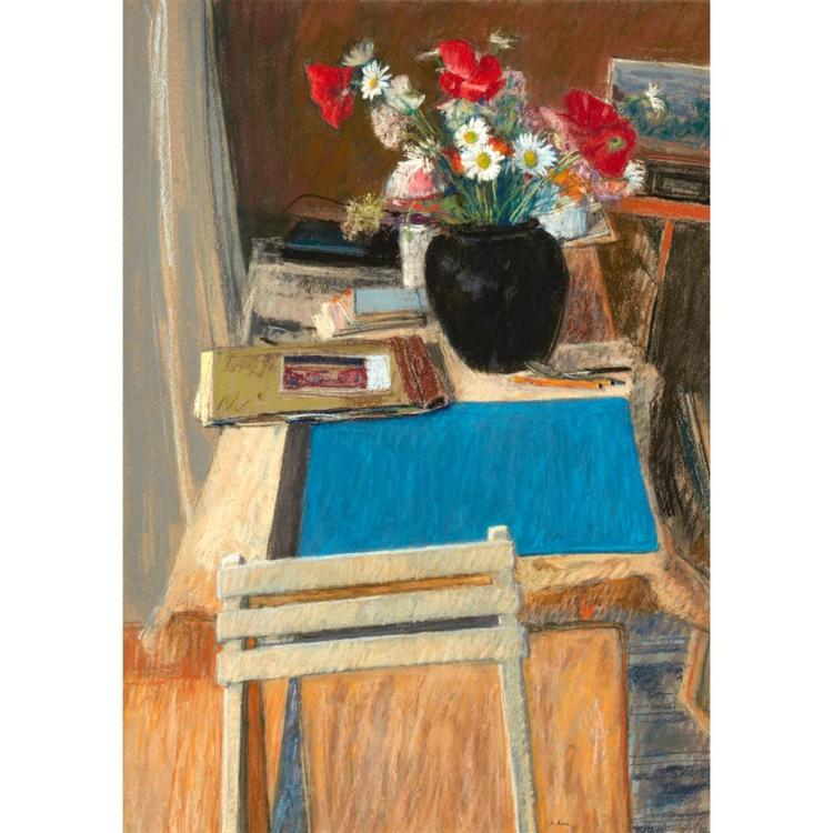 § ALEXANDER CREE (SCOTTISH B.1929) FLOWERS ON A STUDIO TABLE 72cm x 51cm (28.25in x 20in)