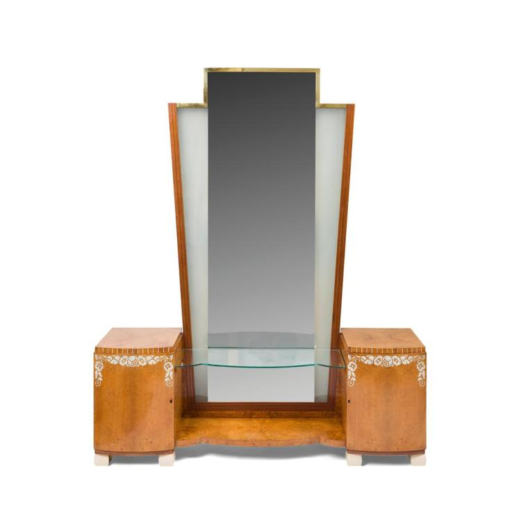 ART DECO AMBOYNA AND IVORINE INLAID DRESSING TABLE, 1920S 148cm wide, 171cm high, 41cm deep