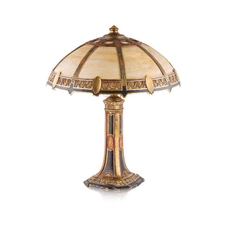 AMERICAN SCHOOL CAST METAL LAMP, EARLY 20TH CENTURY 60cm high