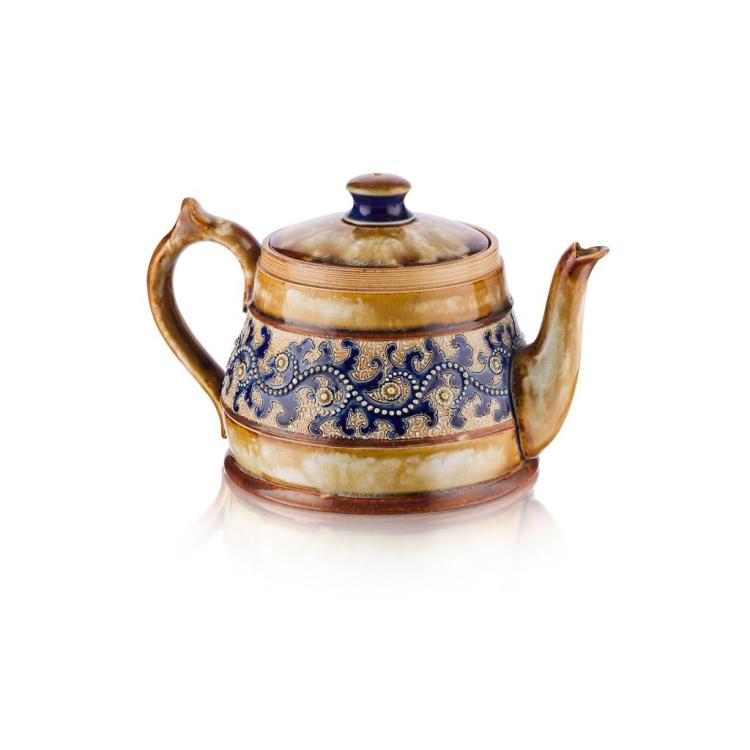 GEORGE TINWORTH (1843-1913) FOR DOULTON, LAMBETH STONEWARE TEAPOT AND COVER, CIRCA 1880 12cm high