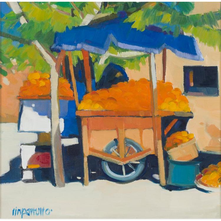 § LIN PATTULO (SCOTTISH CONTEMPORARY) ORANGE CART 19cm x 19cm (7.5in x 7.5in)