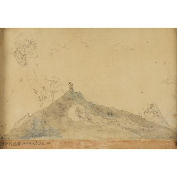 § JESSIE MARION KING (1875-1949) THE FLIGHT OF THE SOUL 25.5cm x 27cm