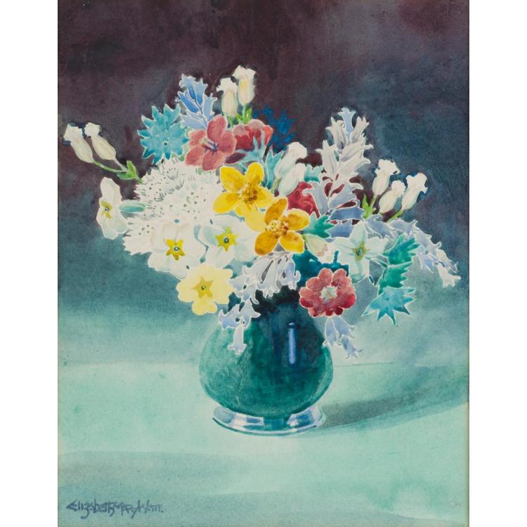 § ELIZABETH MARY WATT (1886-1954) SPRING FLOWERS 33cm x 24cm