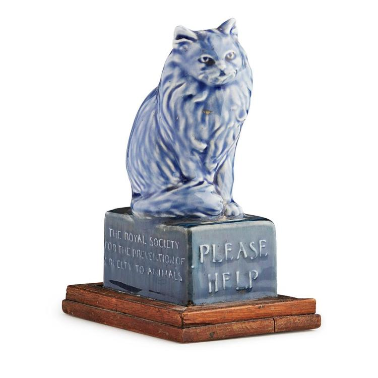 DOULTON, LAMBETH RARE COLLECTION BOX FOR THE R.S.P.C.A., CIRCA 1900 20.5cm high