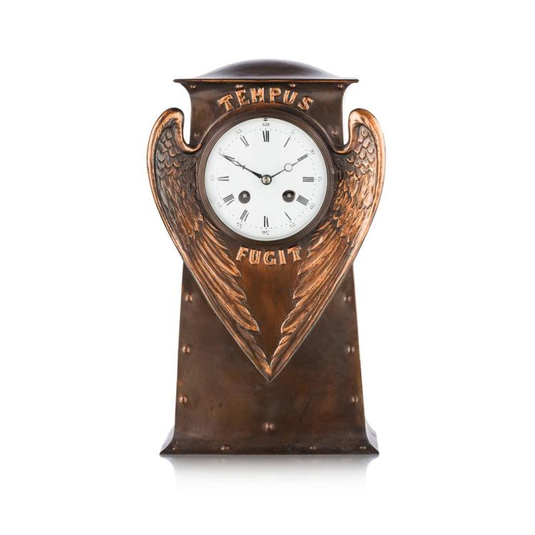 ARTS AND CRAFTS PATINATED COPPER MANTEL CLOCK, EARLY 20TH CENTURY