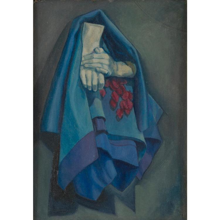 ATTRIBUTED TO WILLIAM CROSBIE TWO HANDS WITH BLUE CLOTH 17cm x 24.5cm (6.75in x 9.75in)