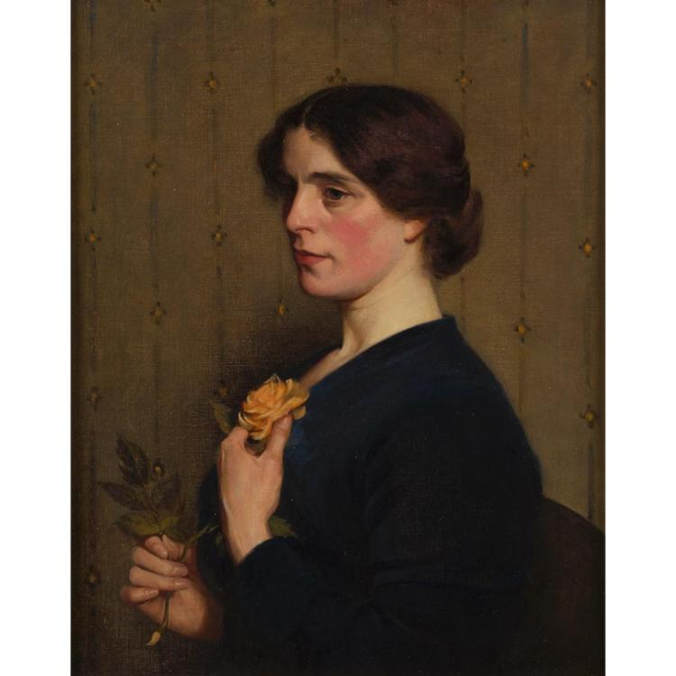 RICHARD WILLIAM WEST (BRITISH B.1887) PORTRAIT OF A LADY WITH A ROSE 75cm x 59.5cm (29.5in x 23.25in)