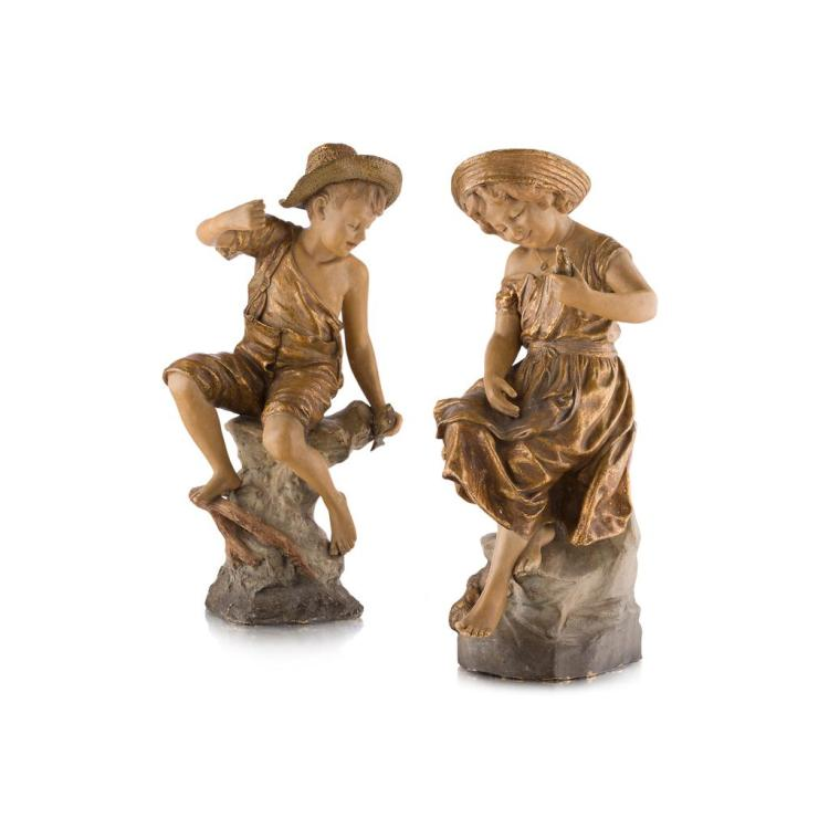 GOLDSCHEIDER, VIENNA PAIR OF TERRACOTTA FIGURES, CIRCA 1900 44cm high
