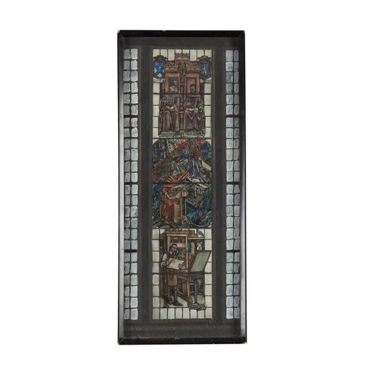 § DOUGLAS STRACHAN (1875-1950) DESIGN FOR THE MACLACHLAN MEMORIAL WINDOW, 1934 51cm x 19.5cm