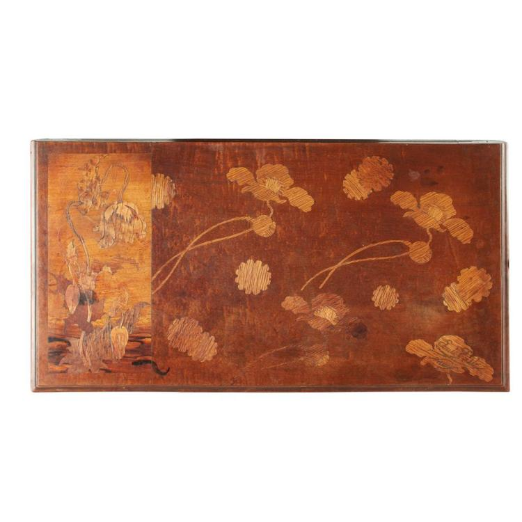 ÉMILE GALLÉ (1846-1904) WALNUT AND MARQUETRY INLAID FOLDOVER CARD TABLE, CIRCA 1900 74cm wide, 75cm high, 39cm deep