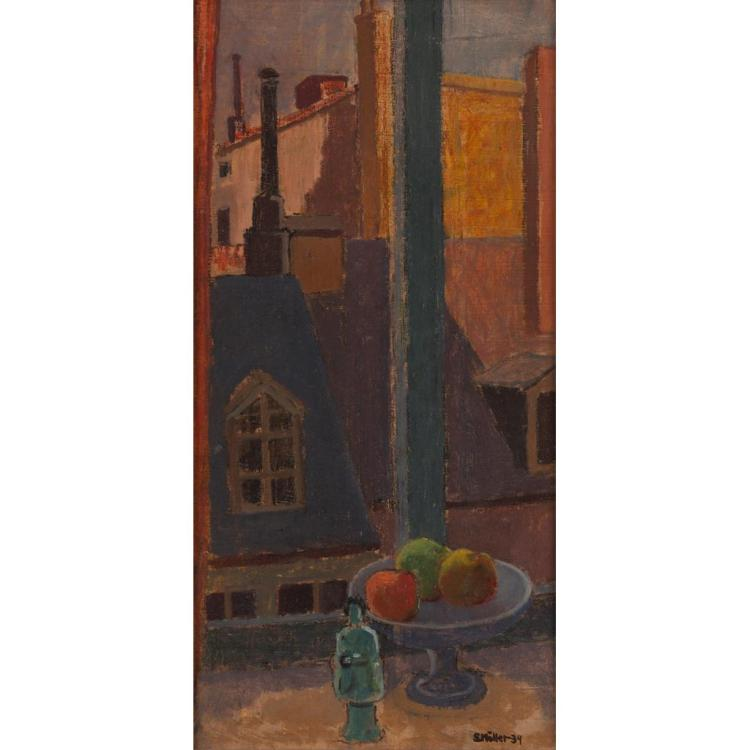§ SIGURD MÖLLER (SWEDISH 1895-1984) STILL-LIFE ON THE WINDOW LEDGE 49cm x 24cm (19in x 9.5in)