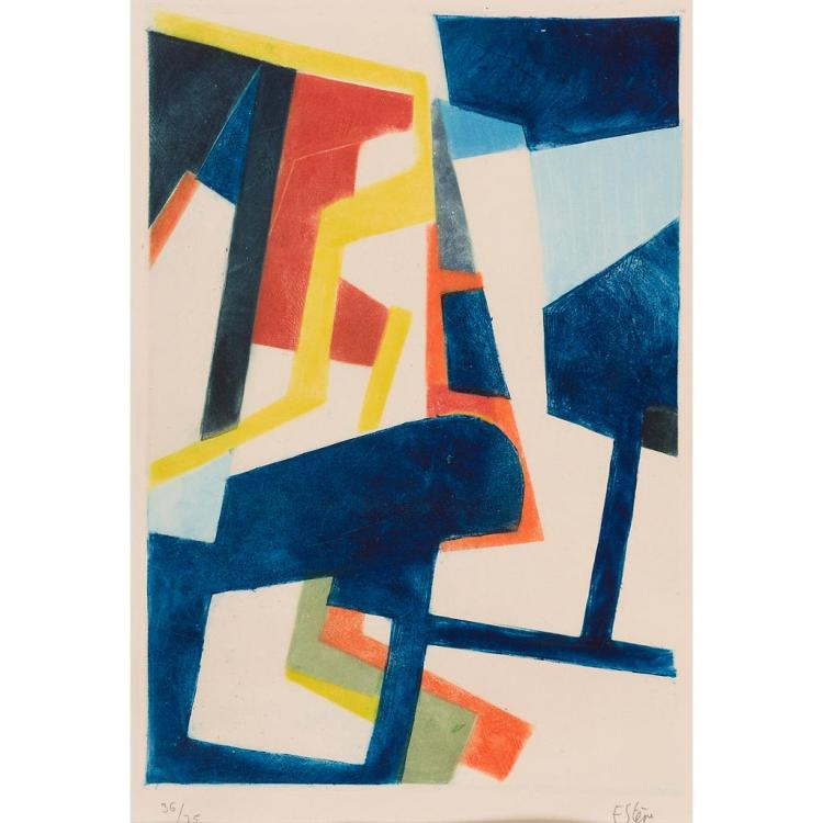 § MAURICE ESTEVE (FRENCH 1904-2001) STRUCTURAL COMPOSITION IN BLUE 40cm x 28.5cm (15.5in x 11.25in)