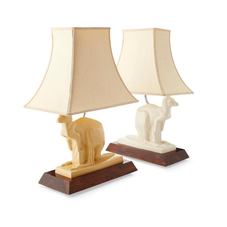 JOHN SKEAPING (1901-1980) FOR WEDGWOOD ASSEMBLED PAIR OF TABLE LAMPS, PRODUCED CIRCA 1927-1950 26cm high (excluding shade)