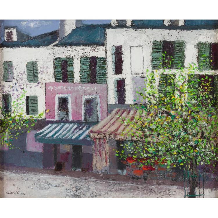 § VALERIE FRASER R.S.W. (SCOTTISH B. 1933) PARISIAN STREET SCENE 45cm x 55cm (17.7in x 21.7in)