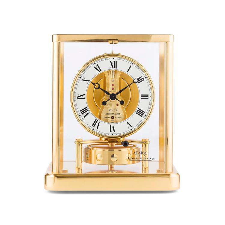 JAEGER LE COULTRE, GENEVA SWISS GILT-BRASS 'ATMOS' CLOCK 23cm high