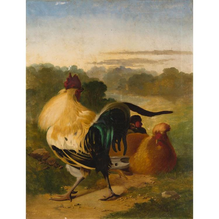 19TH CENTURY BRITISH SCHOOL A STRUTTING COCKEREL 91.5cm x 71.5cm (36in x 28.5in)