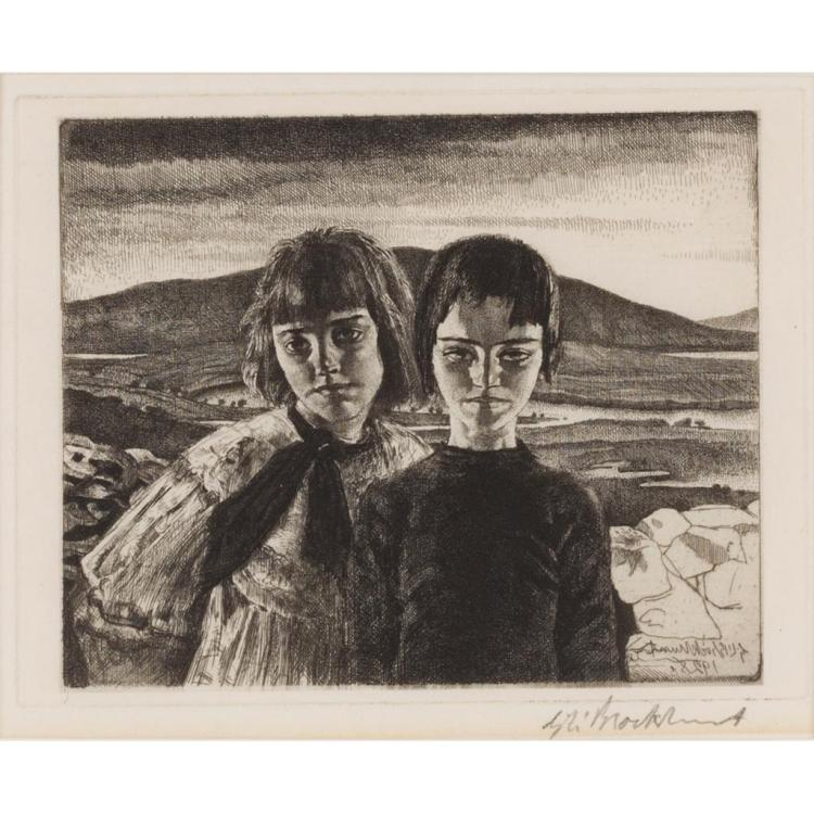 § GERALD LESLIE BROCKHURST (BRITISH 1890-1978) THE WEST OF IRELAND 13.5cm x 17cm (5.25in x 6.75in)